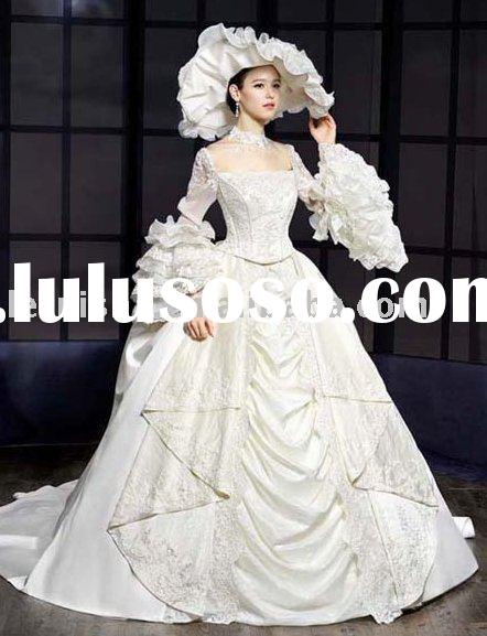 vintage royal style Long Sleeve bridal dress/gown