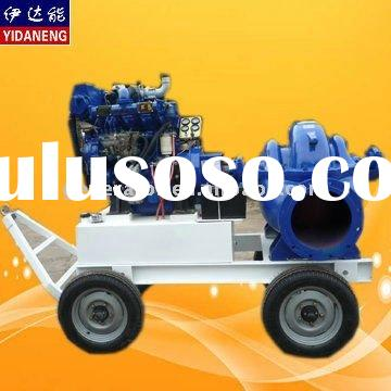 water pump with diesel engine and four wheels trailer