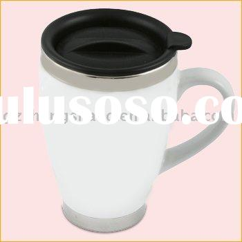 white Ceramic Mug with Stainless Steel inside for coffee 450ML (FDA approved)