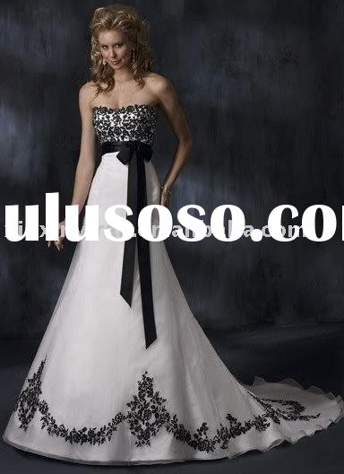 white wedding dress with black embroidered