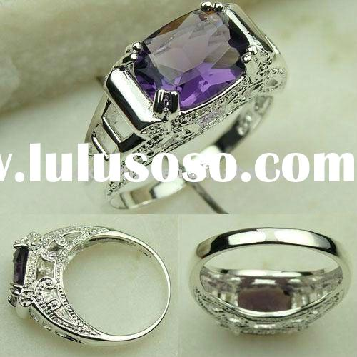 wholesale amethyst ring handmade costume fashion jewelry