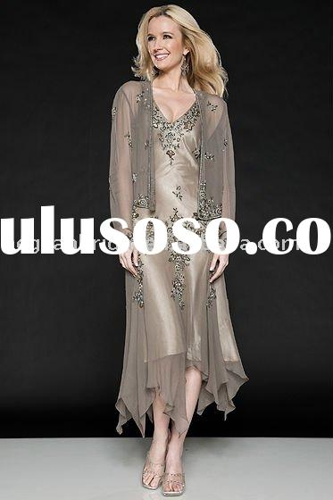 wholesale mother dress/a line long sleeves embroidery beads light brown mother dress 1805
