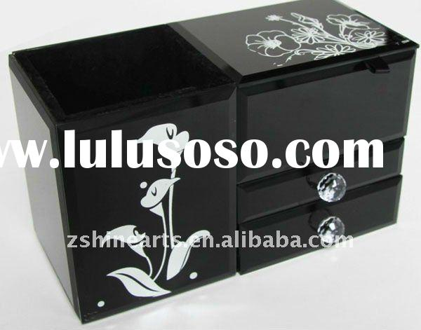 21*11*12.5 CM and 3 layer black and white mirror glass jewelry box