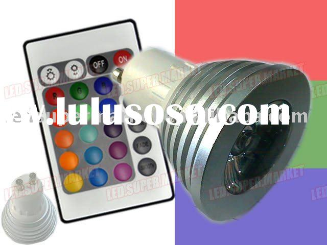 3W GU10 RGB LED spotlight bulb+24 key Remote Control