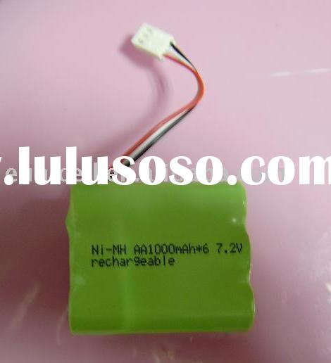 7.2V AA NIMH Rechargeable battery 1000mAh with wire terminals