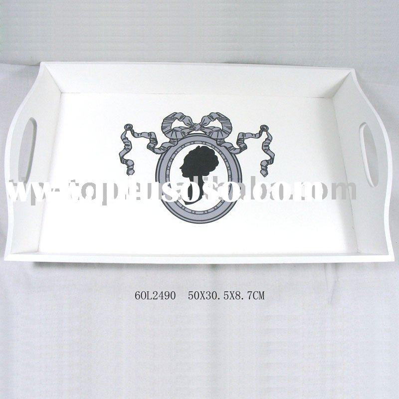 BLACK AND WHITE decorative wooden tray