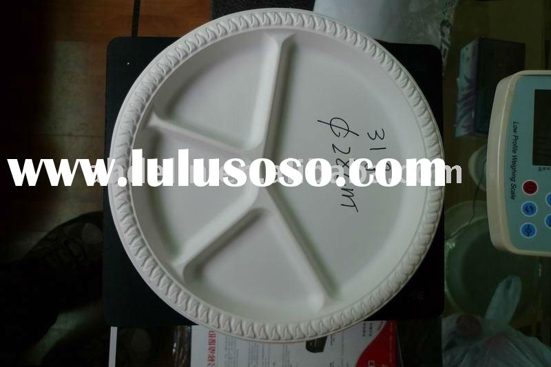 Biodegradable plastic dishes, portion plates,3 Compartment Combo plate
