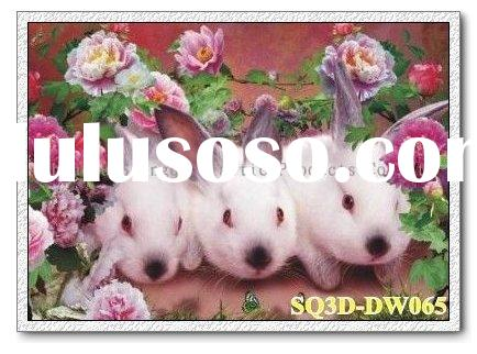 DW065,3D Rabbits Picture,Lenticular Picture of Rabbits