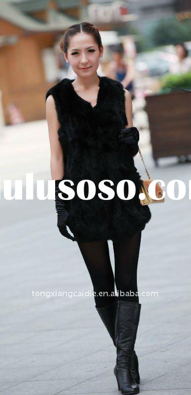 Europe design hot sale cheap spring or autumn rabbit fur gilet for girls