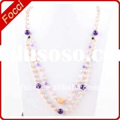 Factory outlet pink purple crystalfreshwater pearl necklace