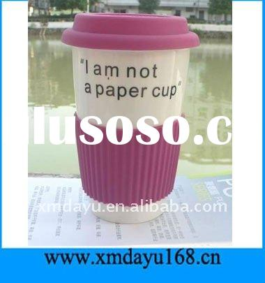 Fashion Ceramic Coffee Cup with Silicone Lid and sleeve