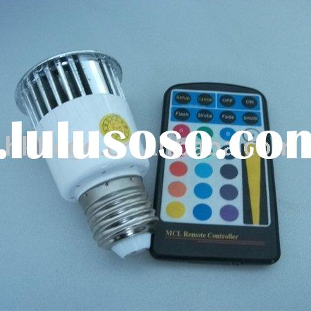Hot Products!Aluminium Alloy Material, 1*5W, Remote Control E27 RGB LED Spotlights