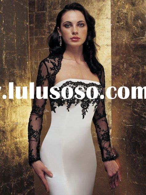JAW173 appliqued trumpet black and white with wrap wedding dress