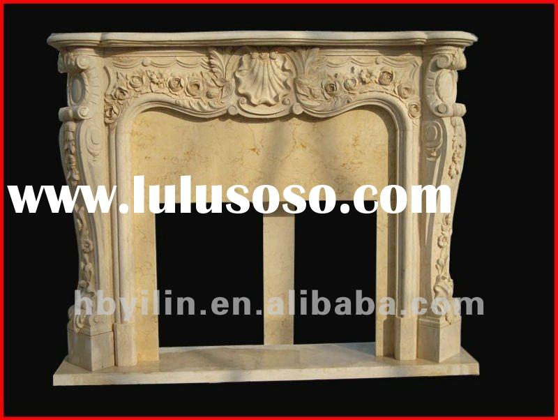 Natural stone fireplace mantel with bouquet