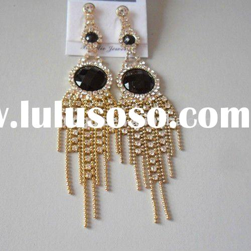 New arrival-2011 Best selling chandelier color acrylic with diamond earrings jewelry