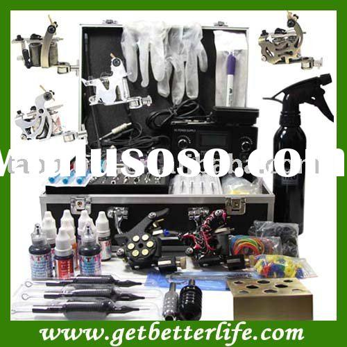 Professional Tattoo Kits with Dual LCD Power 6 Machines Guns Supply