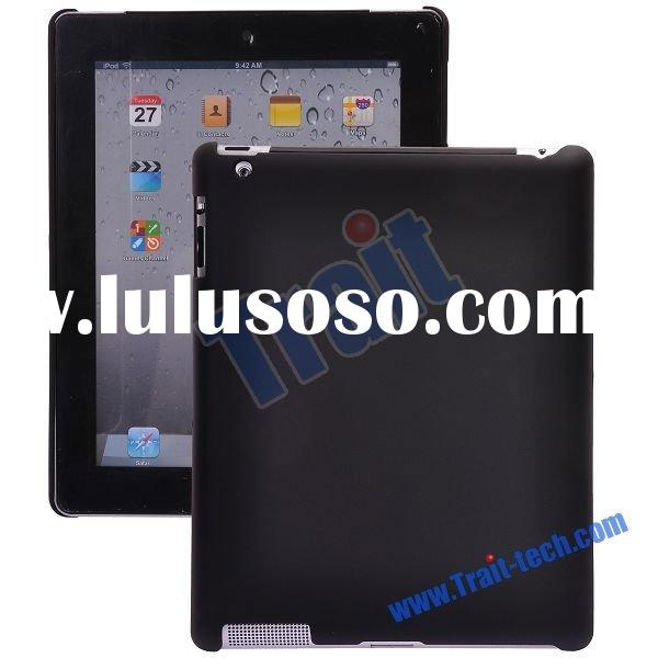 Rubber-coated Solid Color Hard Shell Case for Apple iPad 2(Black)