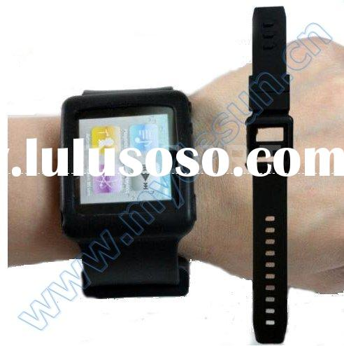 Silicone Wrist Watch Band Color Case Covers for Apple iPod nano 6 (Black)