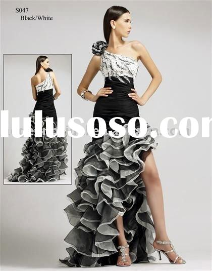 Style E035 fashion one shoulder ruffle&beaded black and white short front long back prom dress