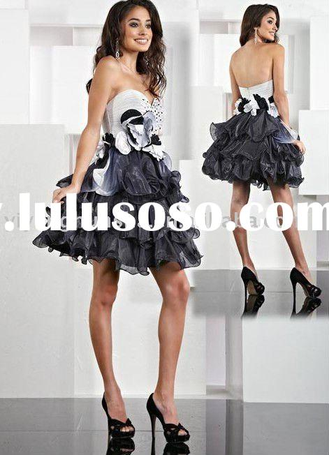 ZJX105 Appliqued ruffled mini sweetheart black and white party evening dresses