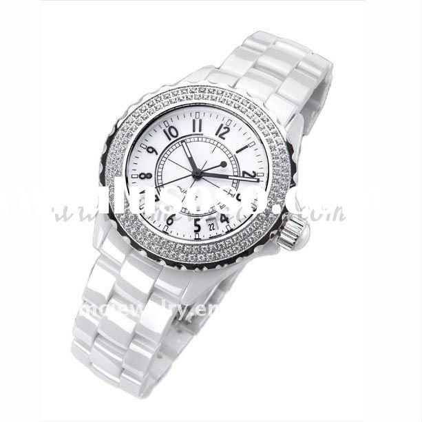 Zircon Inlaid Water Proof White Ceramic Watch