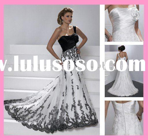 black and white, stunning ,custom made wedding dress bridal dress LY177