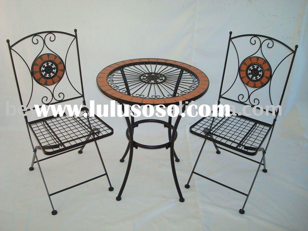 mosaic furniture,garden patio set,mosaic bistro set,metal patio furniture