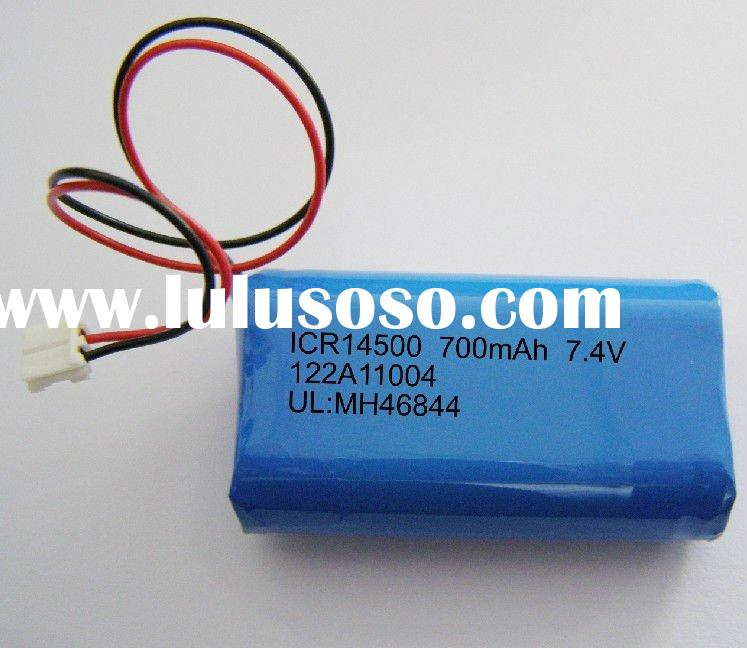 rechargeable battery pack, Li ion Battery with14500 700mAh 7.4V