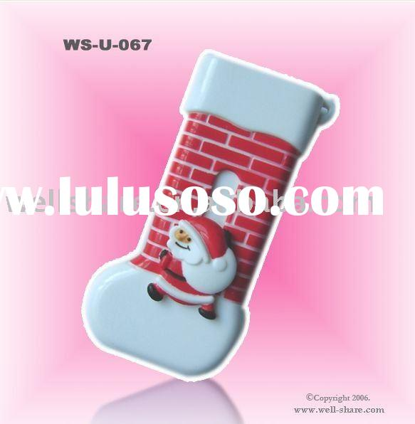 silica stocking shape USB Flash Drivers ,associate the memory of Santa Claus, best promotional gift