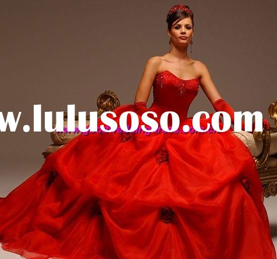 wholesale best selling strapless organza hot red wedding dresses