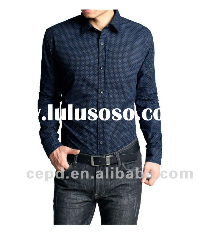 100% cotton long sleeve printing shirts for men