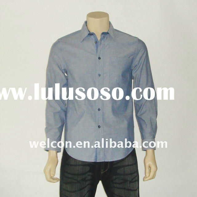 100% cotton urban casual long sleeve stylish Chambray shirt