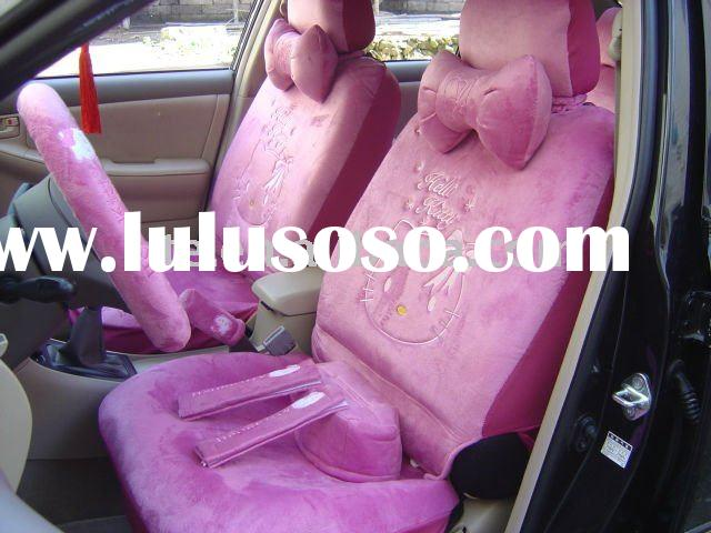 18PCS univisal soft velvet cartoon purple hello kitty winter car seat covers