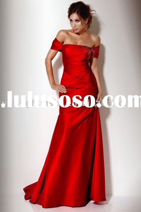 2010-2011 top fashion style off-shoulder red satin evening dresses &women clothes