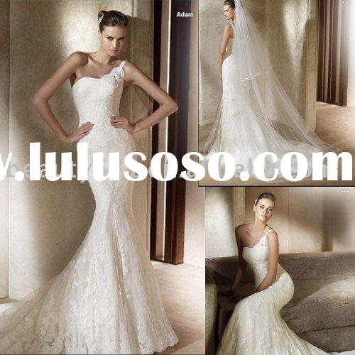 2010 Asymmetric off The Shoulder Strap Simple lace Wedding Dress SL410