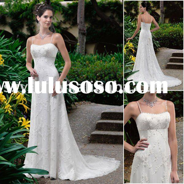 2010 designer junoesque embroidered bodice with lace spaghetti strap bridal wedding gown st8020