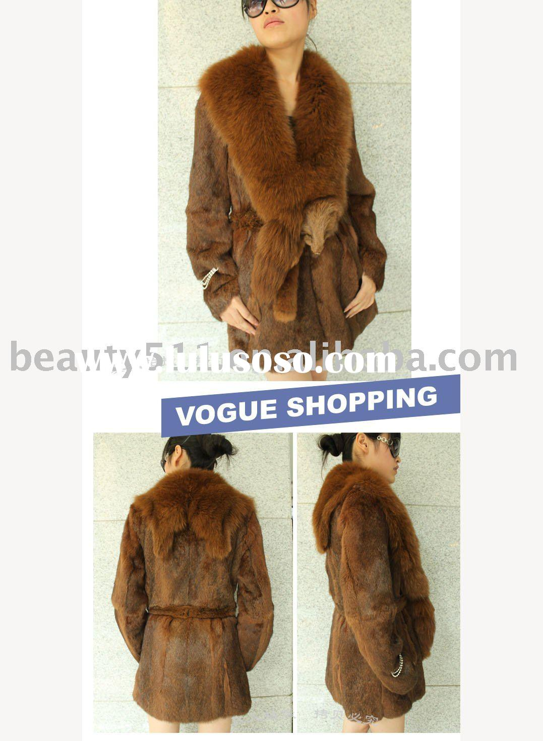 2010 elegant knitted rabbit hair with a fox fur collar ,Medium and long fur garment JL009