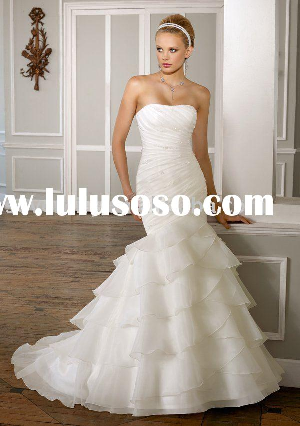 2011 Beaded Organza. Removable one shoulder strap princess wedding dresses