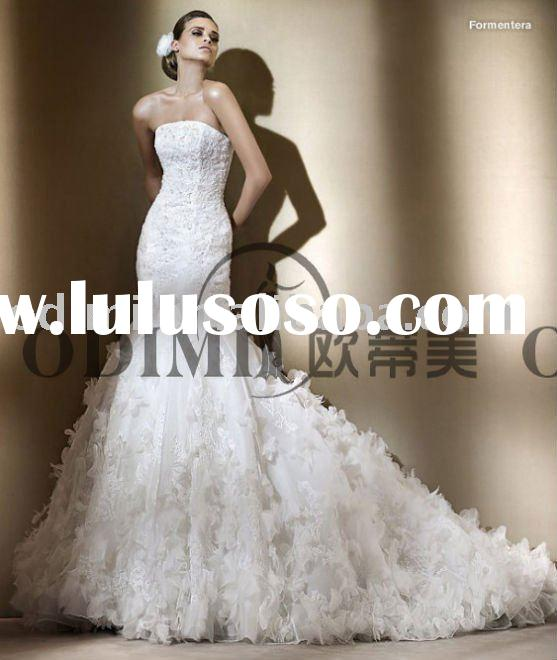 2011 Fancy Mermaid Front Short and Long Back Wedding Dress
