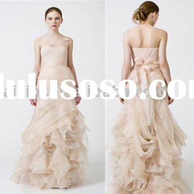 2011 Farrah One-Shoulder Organza Mermaid Chapel Train Bridal Gown Wedding Dress