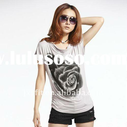 2011 Fashion ladies's printed cotton t shirt