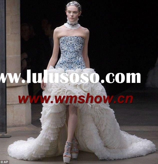 2011 Newest Design White Front Short And Long Back Wedding Dress
