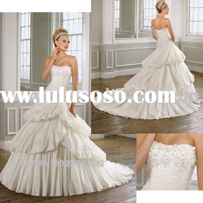 2011 WL-19 new style high quality A-line embroidery and beading customised size wedding gown