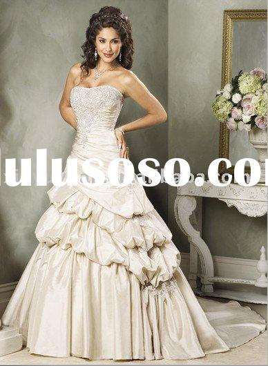 2011 wedding dress with extravagant design, new style bridal gown with gorgeous beaded embroidery MA