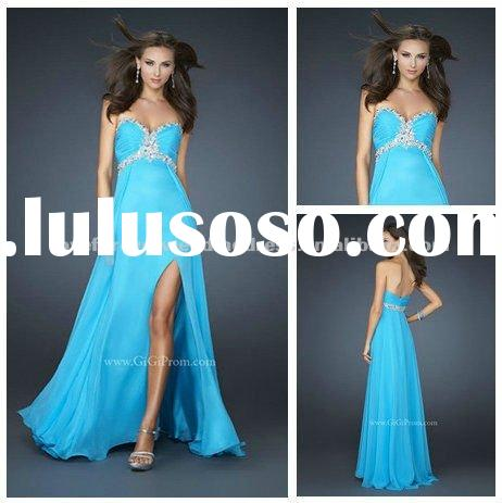 2012 Blue Chiffon Sweetheart Long Party Dresses For Women