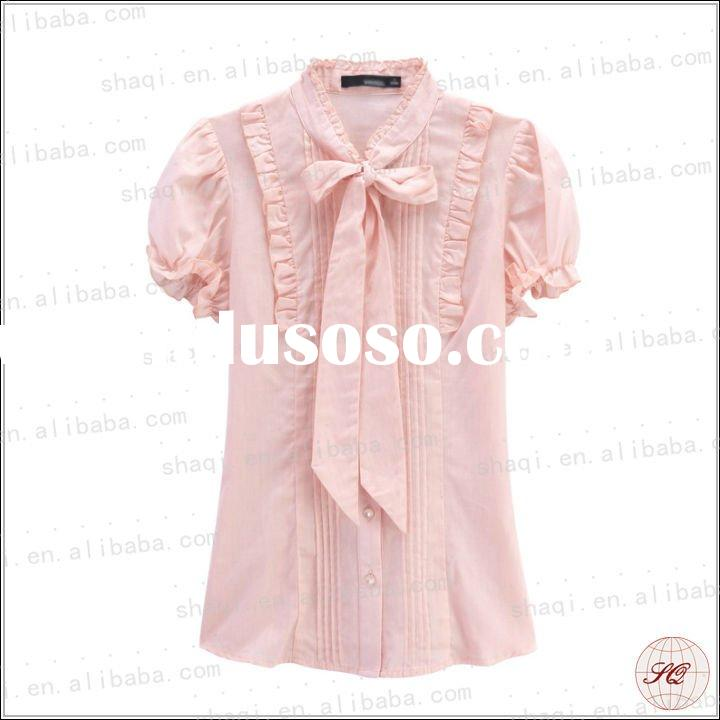 2012 Fomal lady fashion shirts pink new design with lace and bowtie