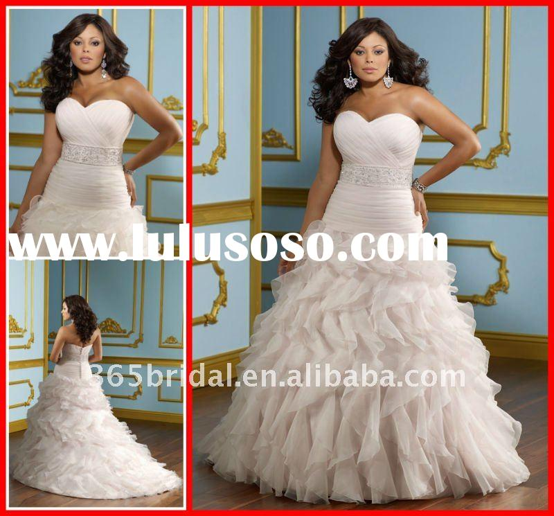 2012 Pink Tiered A Line Sweetheart Appliqued Organza Plus Size Wedding Dress