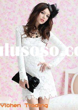 2012 casual white mini dresses long sleeve