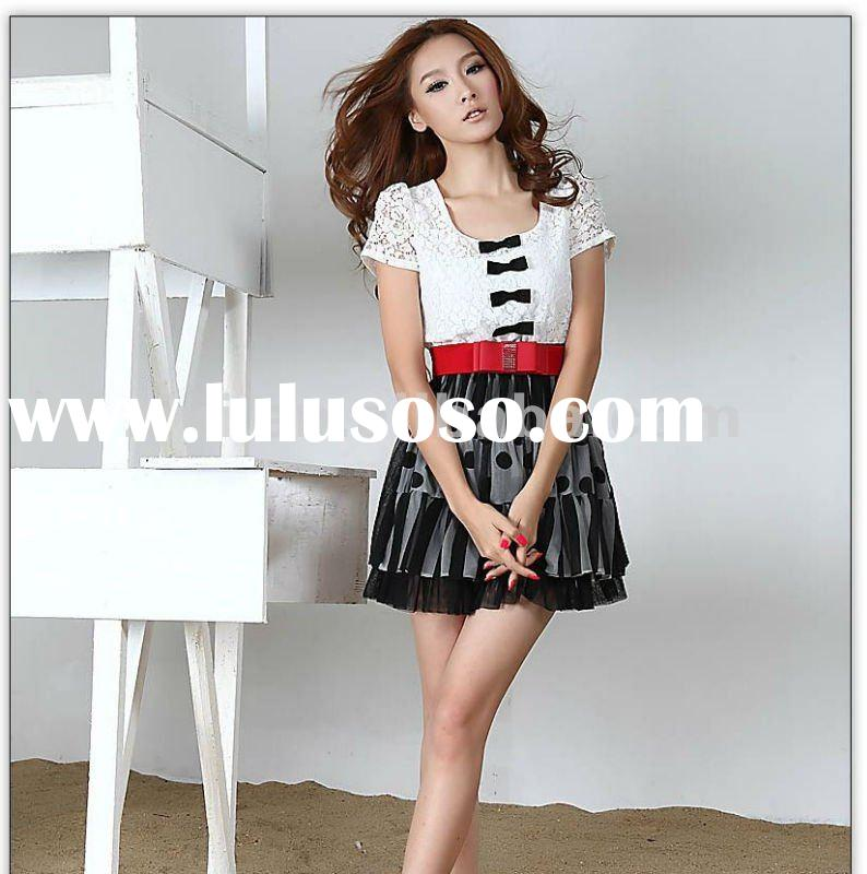 2012 fashion ladies dress with lace short sleeves