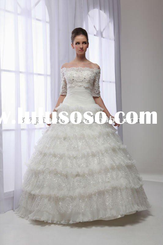 2012 lace long sleeve wedding gown